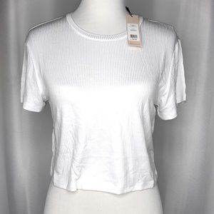 BCBGeneration Ribbed Short Sleeve Crop Top -White